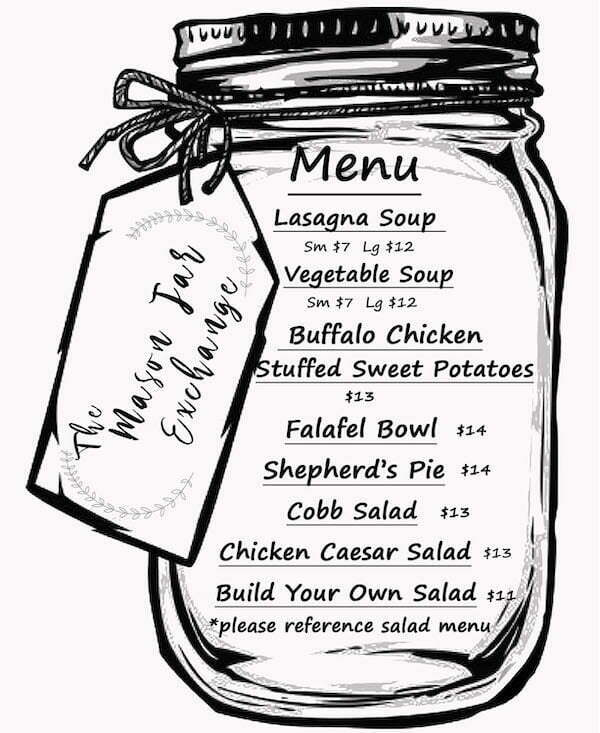 Mason Jar with the weekly specials menu written on it