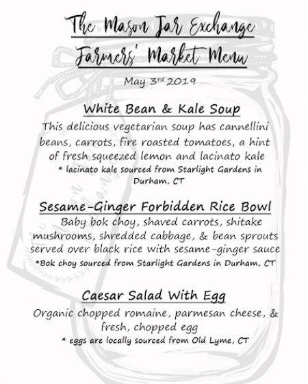 The Mason Jar Exchange Farmers Market Menu May 3